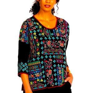 Johnny Was embroidered top black multi large